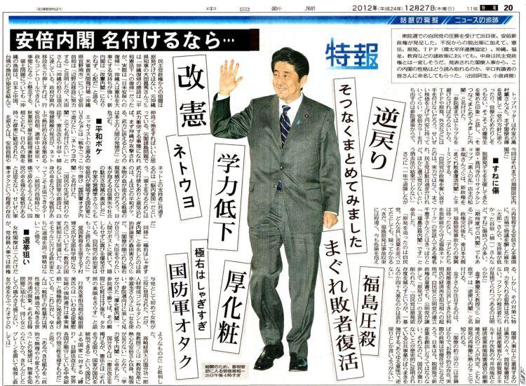 安倍政権誕生直後、中日新聞は「読者の声」という虎の威を借りて新総理のイメージ失墜を試みたが・・・