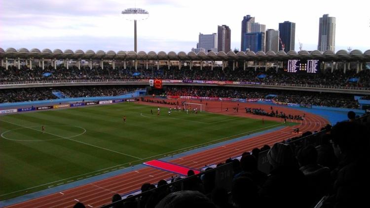 後半33分、決勝ゴールとなった澤選手のヘディングシュートが放たれた瞬間